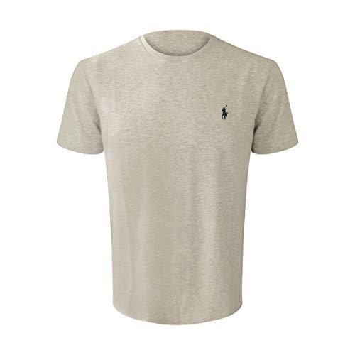 Polo Ralph Lauren Mens Crew Neck T-Shirt (Medium, Grey Heather (Navy Pony))