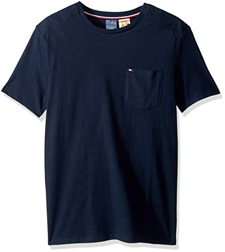Tommy Hilfiger Men's Adaptive Pocket T Shirt with Magnetic Buttons at Shoulders, Navy Blazer, Large