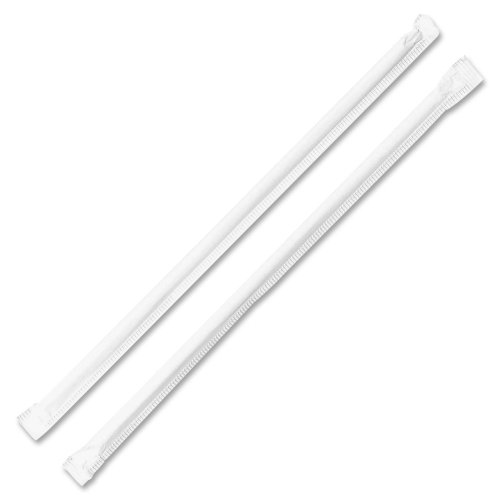 GJO58925 - Genuine Joe Jumbo Translucent Wrapped Straw