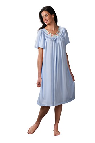 "Shadowline Women's Petals 40"" Short Flutter Sleeve Waltz Gown, Blue, Medium"
