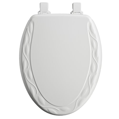 Mayfair Ivy Sculptured Molded Wood Toilet Seat Featuring Easy Clean & Change Hinges & STA-TITE Seat Fastening System, Elongated, White, 134ECA 000 (Toilet Usa Seat)