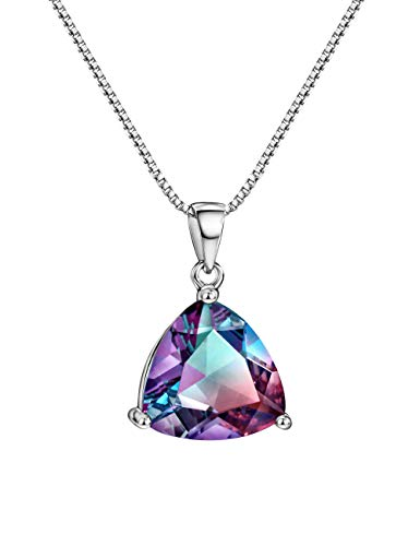 (Mystic Topaz Pendant Necklace Sterling Silver Rainbow Stone Trillion Cut Gemstone Fine Jewelry for Women)