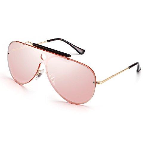 Plano Metal de Sin Marco Espejo Pieza Anteojos Aviador Dorado Hombre Top Mujer de Sol Espejo Rosa Gafas Una x4wPd00