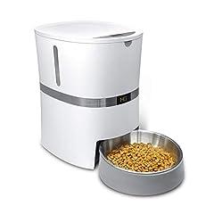 HoneyGuaridan A36 自動ペット給餌器、 犬、猫、兎 &小型動物フード給餌機ステンレススチールペットフードお椀付き、給餌量コントロール可能、音声記録機能 - バッテリと電気アダプター両方対応可能