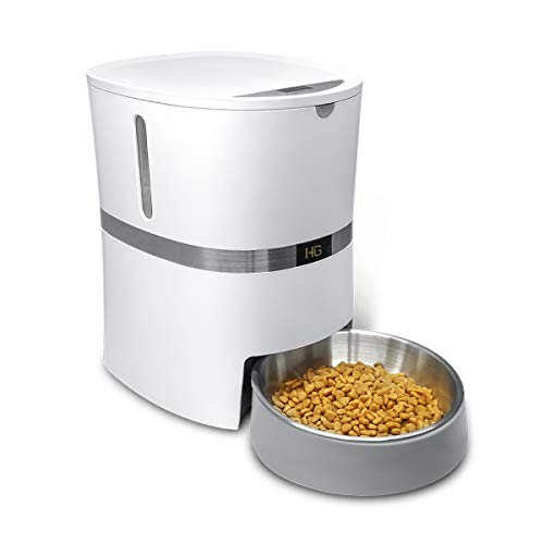 (HoneyGuaridan A36 Automatic Pet Feeder, Dog, Cat, Rabbit & Small Animals Food Dispenser with Stainless Steel Pet Food Bowl, Portion Control and Voice Recording - Batteries and Power Adapter Support)