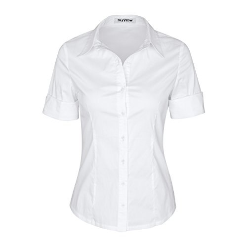SUNNOW Womens Tailored Short Sleeve Basic Simple Button-Down Shirt with Stretch (L, White) -