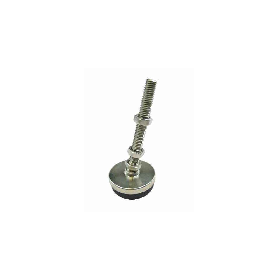 J.W. Winco 10T8LD5 Series LP 100.1 303 Stainless Steel Threaded Stud Type Low Profile Leveling Mount with Light Duty Rubber Pad, Inch Size, 5/8 11 Thread Size, 8 Thread Length, 2 Base Diameter