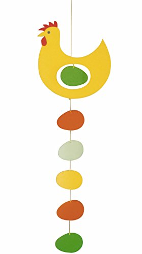 Flensted Mobiles Prize Hen Yellow Hanging Mobile - 18 Inches (Halloween Village Background)