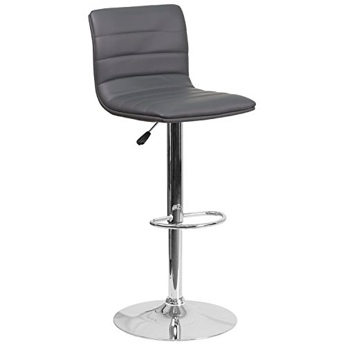 Flash Furniture Contemporary Vinyl Adjustable Height Barstool with Chrome Base, Gray