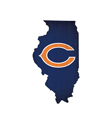 Fan Creations Chicago Bears Wood Sign 12 Inch State Shape -