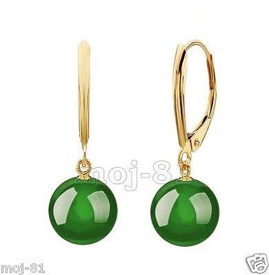 Gemstone Jade Earrings - 10mm Natural Green Jadeite Jade Round Gemstone 14k Gold GP Leverback Earrings