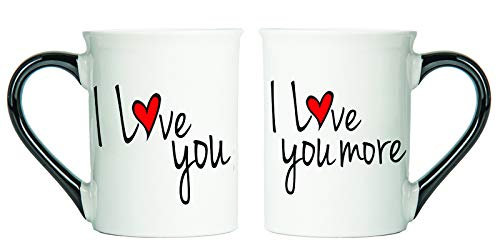 I Love You, I Love You More- Two 18 Oz Mugs - Couple Gifts