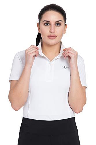 TuffRider Women's Kirby Kwik Dry Short Sleeve Show Shirt, White/White, Medium