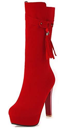 Franges Botte Femme Haut Talon Rouge Aisun Plateforme Mariage Belle Idq00