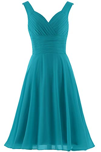 - ANTS Women's V-Neck Chiffon Bridesmaid Dresses Short Prom Gown Size 14 US Jade