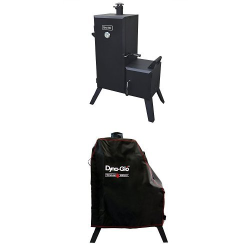 Dyna-Glo DGO1176BDC-D Vertical Offset Charcoal Smoker and Premium smoker cover by Dyna-Glo