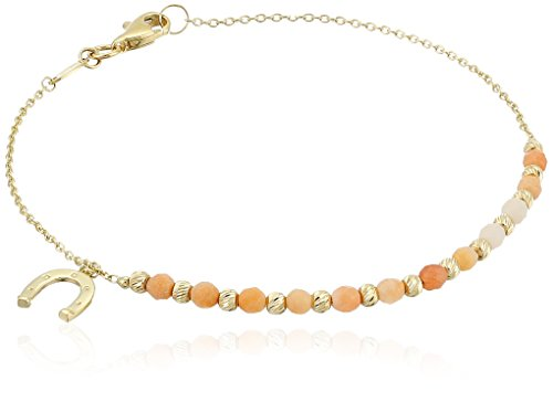 14k Yellow Gold and Pink Aventurine with Horseshoe Charm Bracelet, 7.5