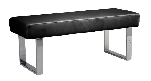 Bench Leather Chrome (Armen Living LCAMBEBLBCH Amanda Bench in Black and Chrome Finish)