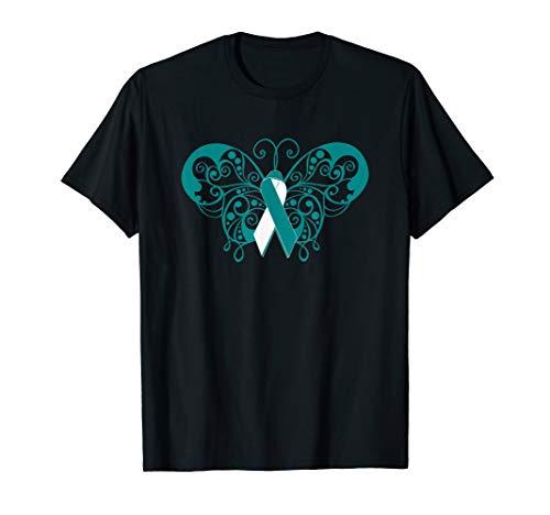 Cervical Cancer Awareness Support Teal/White Ribbon T Shirt ()