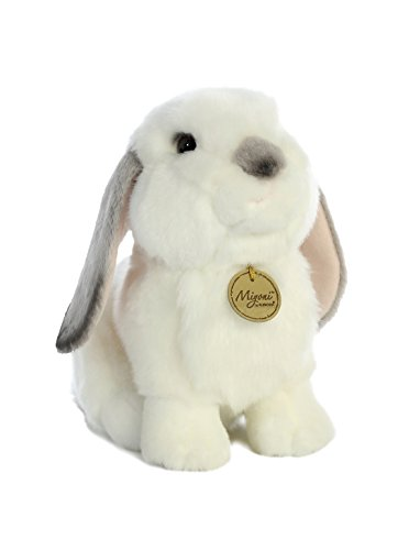 Aurora World Miyoni White Plush Lop Eared Rabbit with Gray Ears, Large