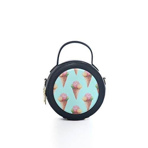 - Fashion Microfiber&cowhide Zipper Round Packet Ball Ice Cream Girl Color Sweet Print One Shoulder Cross-body Bags Handbag Small Round Wallet Circle Purse Clutch
