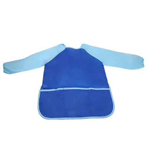 LALANG Children Long-sleeved Waterproof Craft Smock Toddler Apron Bib for DIY Painting Drawing Eat Garment (blue)