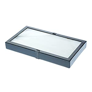 "SE JT9216 14-1/2"" x 8"" x 1-3/4"" Glass Top Display Riker Box"
