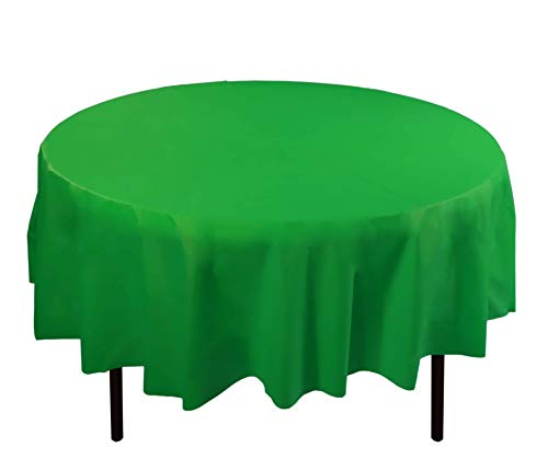 - 12-Pack Premium Plastic Tablecloth 84in. Round Table Cover - Emerald Green