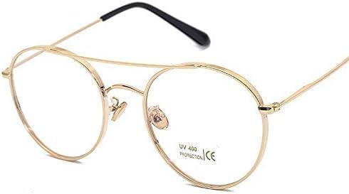 LIUYALE Metall Myopie Glas-Feld Schutz der Augen Leicht stark und robust Anti-Ermüdung der Augen mit hohen Dichte Klassische Rimmed klare Linse Gläser Brillenfassungen (Color : Gold)