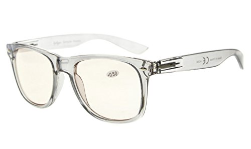 Eyekepper Blue Light Blocking Glasses Digital Eye Strain Prevention Large Simple Computer Reading Glasses RX Magnification (Grey Frame, - Rx Reading Glasses