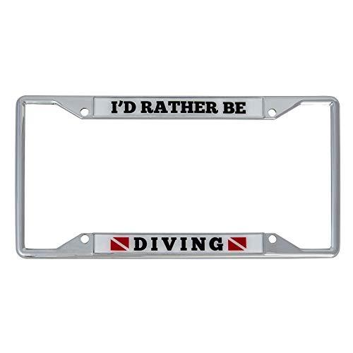 Desert Cactus I'd Rather Be Diving Metal Auto License Plate Frame Car Tag Holder (Diving) ()