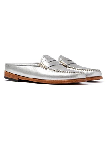 Women's Penny Loafers Silver Weejuns Wheel Slide Leather GH Bass 7tTqWc5q