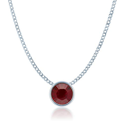 (Ed Heart Small Pendant Necklace with Red Siam Round Crystals from Swarovski Silver Toned Rhodium Plated)
