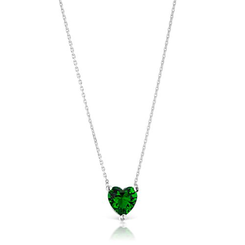 Genuine Heart Shaped Green - Sphera Milano Italian Sterling Silver 925 Heart Shaped Cubic Zirconia Pendant Necklace (Green)