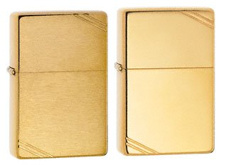 Vintage High Polish Brass Lighter - Zippo Lighter Set - 1937 Vintage Replica High Polish Brass W/slashes and Brushed Brass Pack of 2