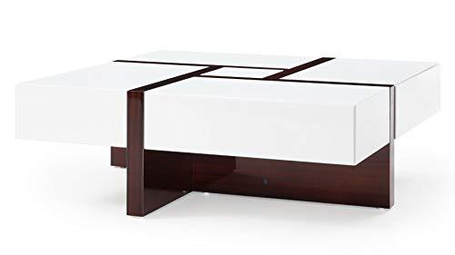 (Zuri Furniture Mcintosh High Gloss Coffee Table with Storage - White Square)