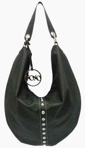Studded Fashion Hobo Handbag (XOXO Black Hobo Style Studded Purse Hot Vinyl Handbag in Black)