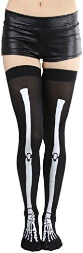 ToBeInStyle Women's Skeleton Print Stockings - Black/White