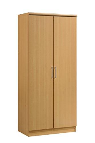 Hodedah 2 Door Wardrobe with Adjustable/Removable Shelves & Hanging Rod, Beech ()