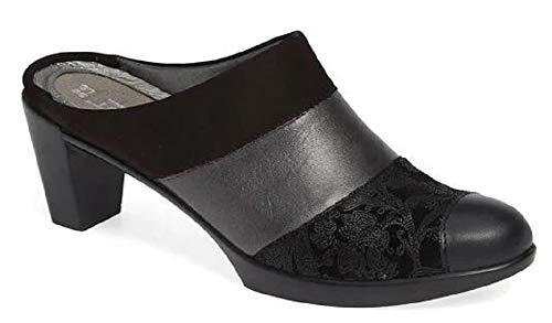 NAOT Footwear Women's Fortuna Black Velvet Nubuck/Metallic Road Lthr/Black Suede/Black Raven Lthr Clog Heel 4 M US