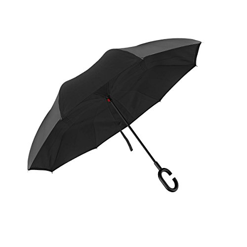 QS Team Double Layer Inverted Umbrellas Reverse Folding Umbrella Windproof UV Protection Big Straight Umbrella for Car Rain Outdoor Travel Umbrella with C-Shaped Handle and Carrying Bag ()