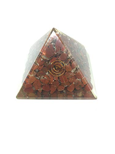 Extar Large 70-75Mm Red Jasper Orgonite Pyramid Emf Protection Orgone Energy