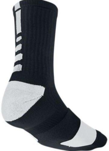 Nike Elite Basketball Crew 1-Pair Pack, Black (White), LG (Men's Shoe 8-12, Women's Shoe 10-13)