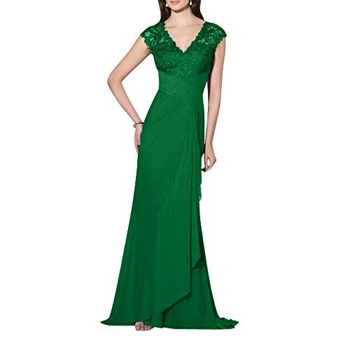 Elegant Ausschnitt Damen Formalkleider Spitze Standsamt Grün Kleider V lang Abendkleider Charmant Festlichkleider TOgq5w