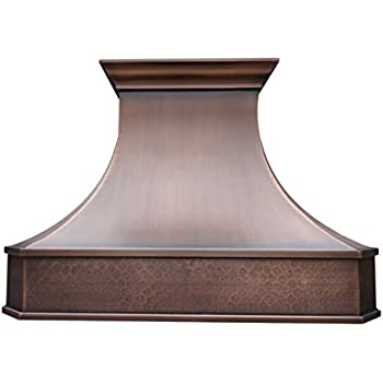 Sinda Copper Best H3 362127LS Solid Copper Kitchen Range Hood, 36 in Wall Mount with Inserts
