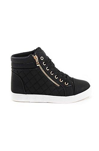 Soho Schuhe Damen Kunstleder gesteppte Zipper Lace Up High Top Sneakers Schwarz-Weiss