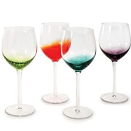 Danesco Glassware Set of 4 - Assorted Color... 7 Set of 4, 12 ounce wine glasses Mouth-blown splashes of colors create uniquely patterned bubbles at the base of each bowl. Slender stem and sturdy base makes it both a practical and elegant choice for entertaining.