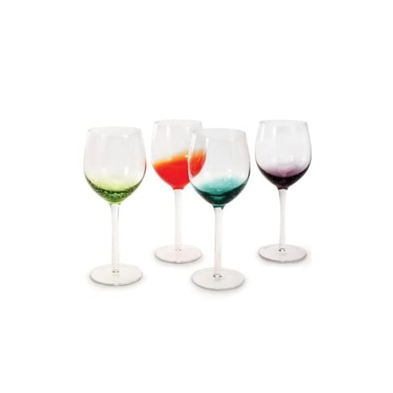Danesco Glassware Set of 4 - Assorted Color... 1 Set of 4, 12 ounce wine glasses Mouth-blown splashes of colors create uniquely patterned bubbles at the base of each bowl. Slender stem and sturdy base makes it both a practical and elegant choice for entertaining.