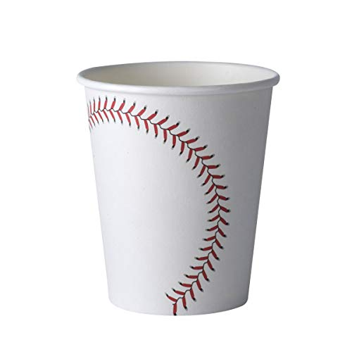 Baseball Themed 9 oz Disposable Paper Cups -Birthday Party Supplies Ideal for Game Day, Tailgate Parties and Family Dinner (50 Pack) ()