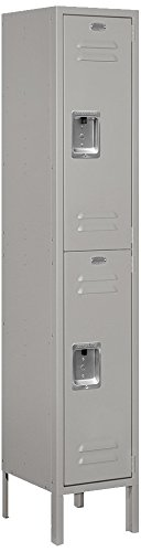 Standard Steel Locker (Salsbury Industries 62152GY-U Double Tier 12-Inch Wide 5-Feet High 12-Inch Deep Unassembled Standard Metal Locker, Gray)